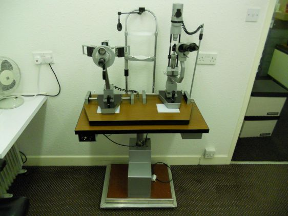 Slit lamp and keratometer on motorized table used combi units slit lamp and keratometer on motorized table aloadofball Choice Image
